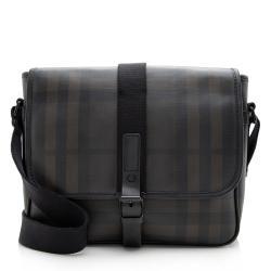 Burberry Smoke Check Leather Buckle Messenger Bag