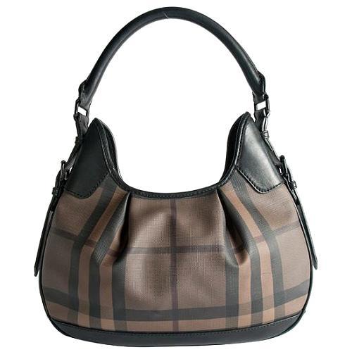 Burberry Smoked Check Brooklyn Hobo Handbag