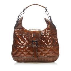 Burberry Studded Patent Leather Shoulder Bag