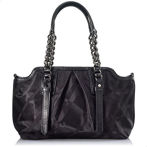 Burberry Tonal Check Nylon Shoulder Handbag