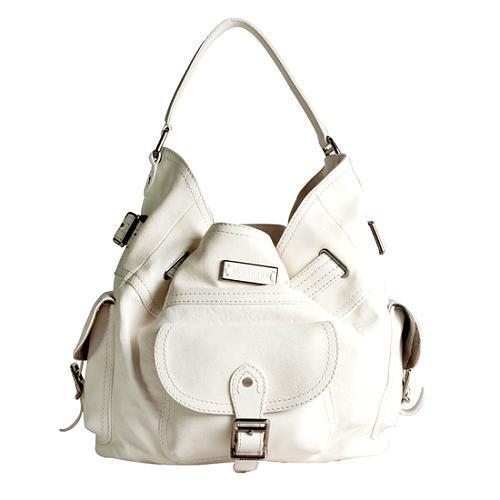 Burberry Tumbled Leather Medium Hobo Handbag