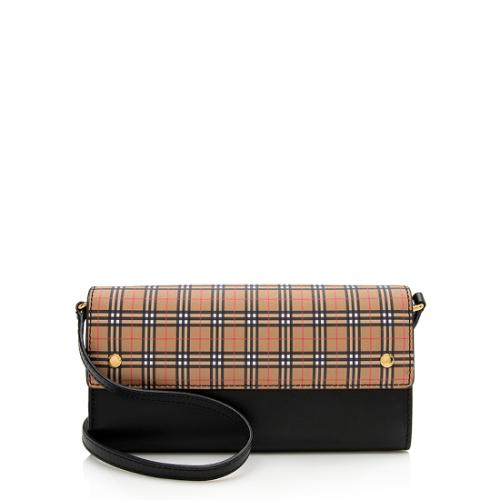 Burberry Vintage Check Leather Henley Wallet On Chain