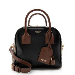 Burberry Vintage Check Leather Small Cube Satchel