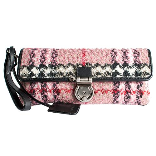 Burberry Wool Nova Check Mastaire Small Clutch