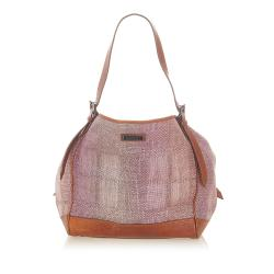 Burberry Woven Leather Tote Bag