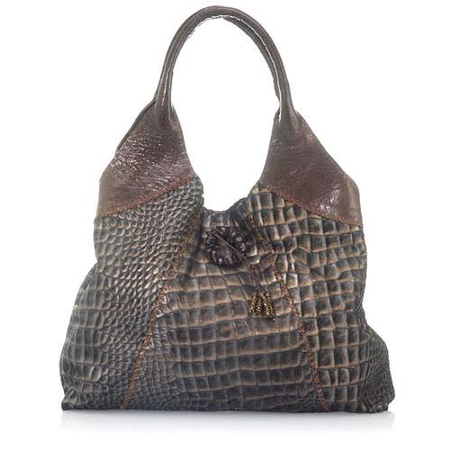 Carla Mancini Croco Print Hobo Handbag