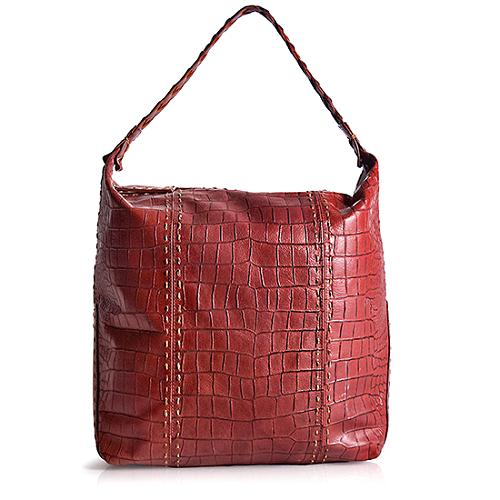 Carlos Falchi Embossed Leather Hobo Handbag