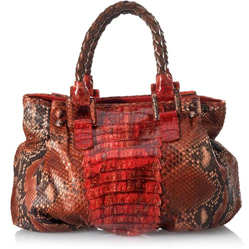 Carlos Falchi Gradiation Caiman Crocodile and Python East/West Poof Tote