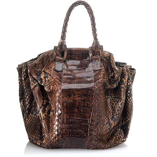 Carlos Falchi Gradiation Caiman Crocodile and Python Oversized Side Shirred Tote