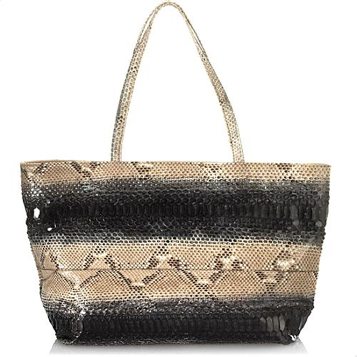 Carlos Falchi Horizontal Glazed Python East /West Tote