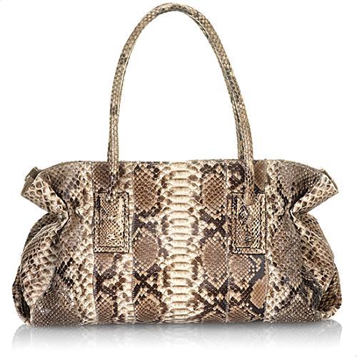 Carlos Falchi Large Glazed Python Doctor Handbag