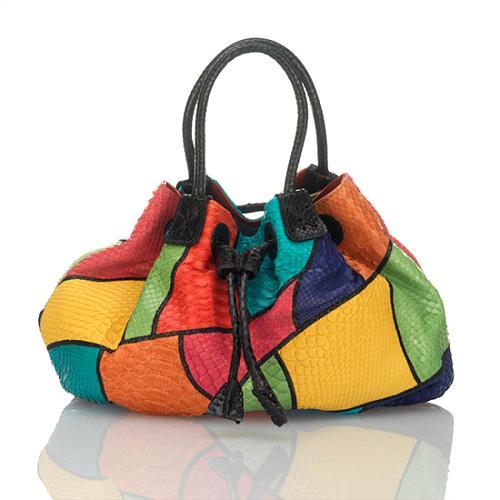 Carlos Falchi Multi Bright Drawstring Handbag