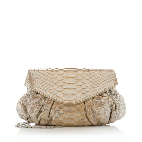 Carlos Falchi Pleated Python Clutch