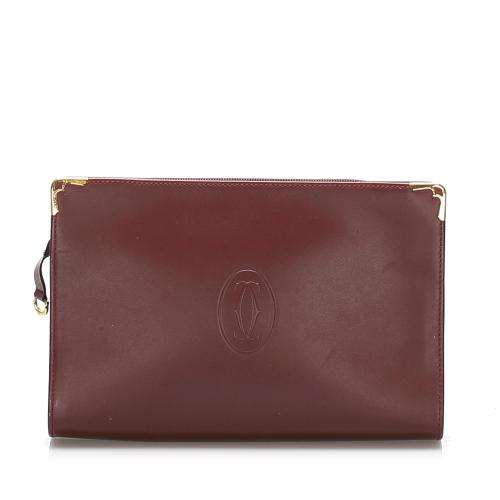 Cartier Must De Cartier Leather Clutch Bag