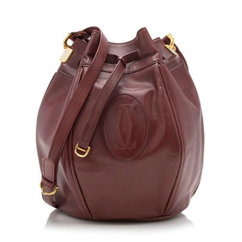 Cartier Vintage Leather Must de Cartier Large Tulip Bucket Bag