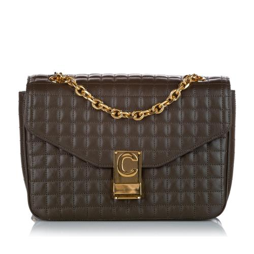 Celine C Quilted Leather Crossbody Bag