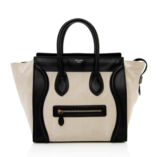 Celine Leather Canvas Mini Luggage Tote