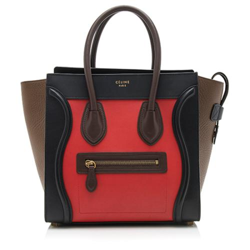 Celine Drummed Calfskin Tricolor Micro Luggage Tote