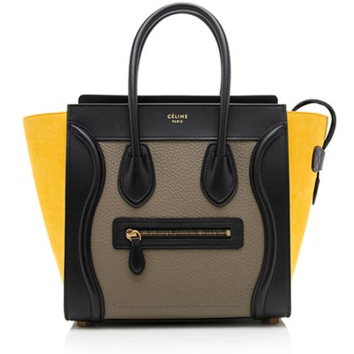 Celine Drummed Calfskin Tricolor Micro Luggage Tote - FINAL SALE