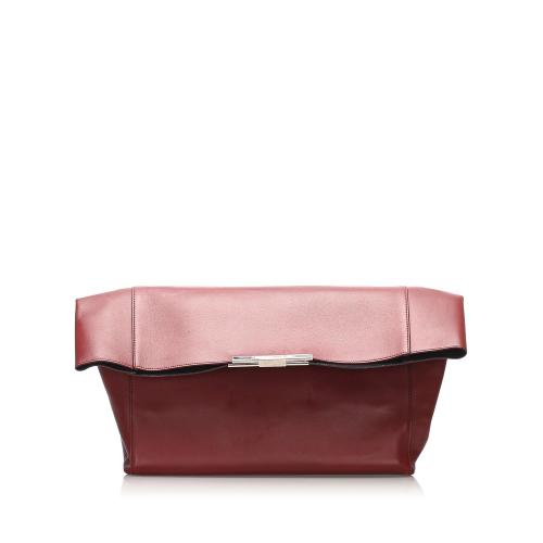 Celine Fold Over Leather Clutch Bag