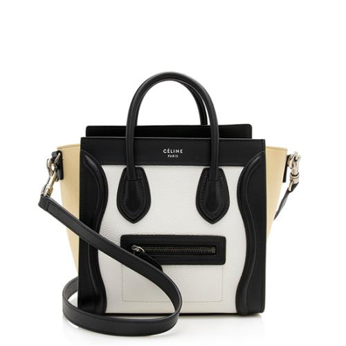 Celine Tri-Color Grained Calfskin Nubuck Nano Luggage Tote