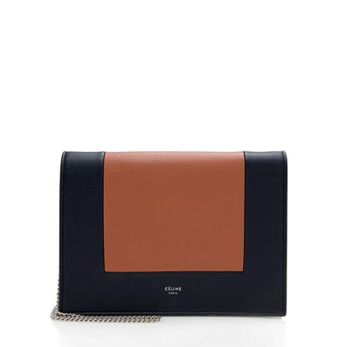 Celine Lambskin Frame Evening Clutch on Chain Crossbody Bag