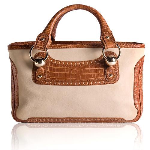 Celine Leather Boogie Satchel Handbag