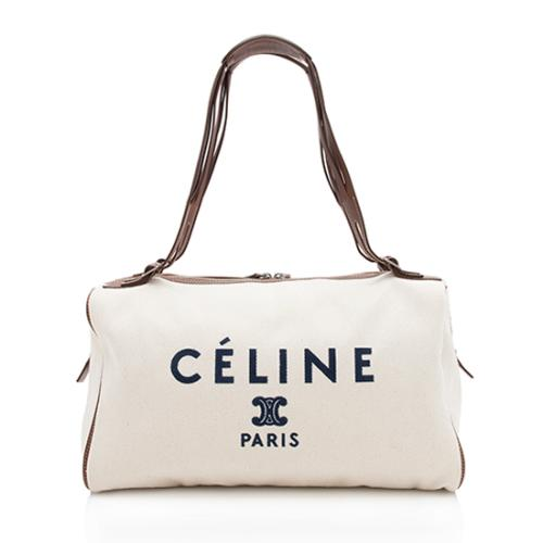Celine Leather Canvas Logo Satchel