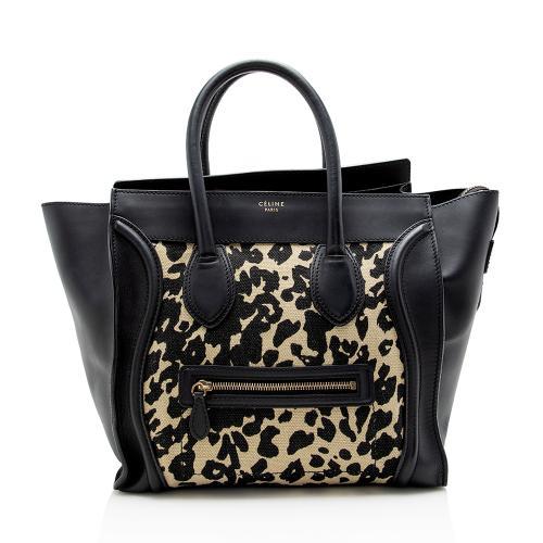 Celine Leopard Canvas Mini Luggage Tote