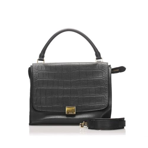 Celine Embossed Leather  Medium Trapeze Satchel
