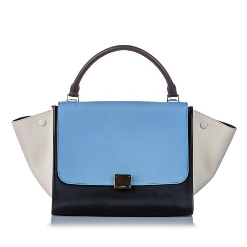 Celine Tricolor Leather Medium Trapeze Satchel