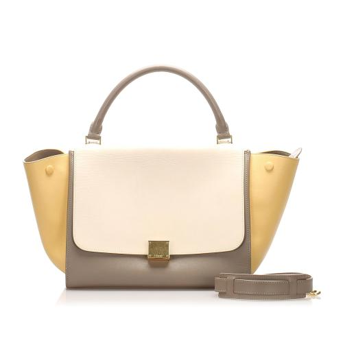 Celine Leather Tricolor Medium Trapeze Satchel