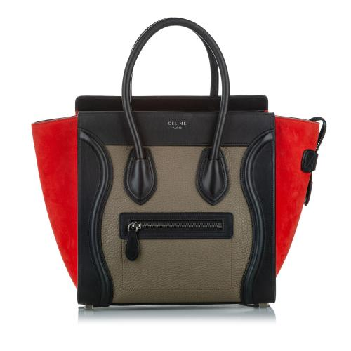 Celine Micro Luggage Tricolor Leather Handbag
