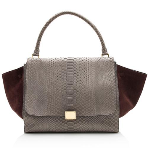 Celine Python Suede Large Trapeze Bag