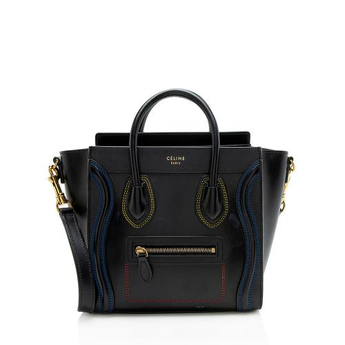 Celine Smooth Calfskin Double Stitching Nano Luggage Tote