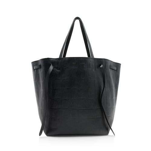 Celine Stamped Croc Leather Medium Phantom Cabas Tote