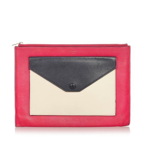 Celine Tri-Color Zip Envelope Leather Clutch