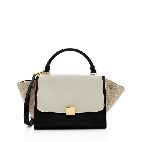 Celine Tricolor Calfskin Linen Small Trapeze Bag