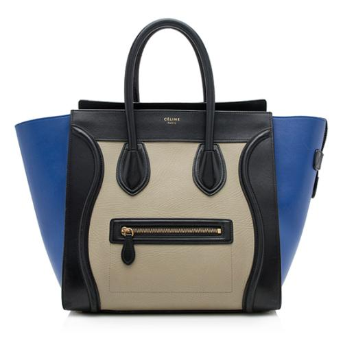 Celine Tricolor Leather Mini Luggage Tote