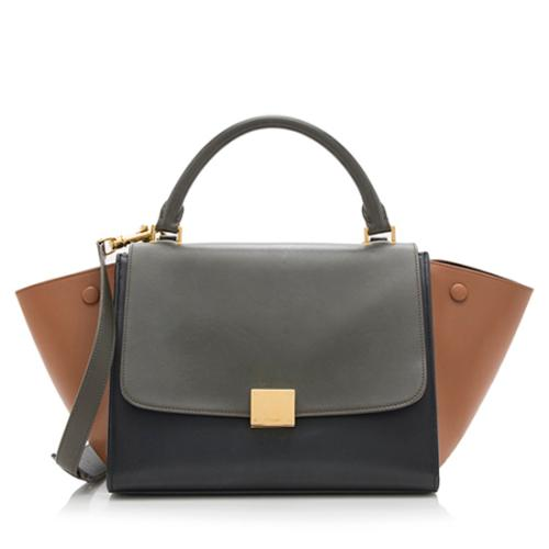 Celine Tricolor Satin Calfskin Small Trapeze Bag