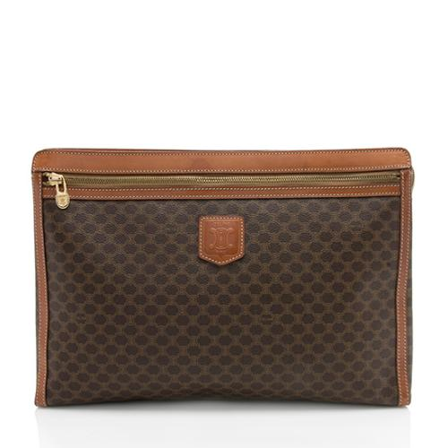 Celine Vintage Leather Monogram Zip Pocket Clutch