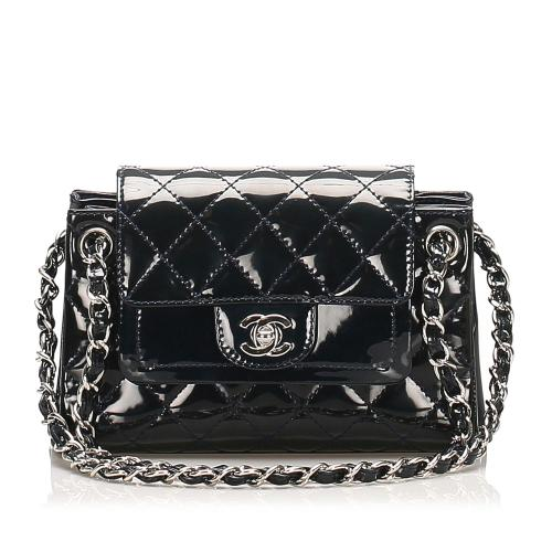 Chanel Accordion CC Timeless Patent Leather Shoulder Bag