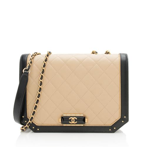 Chanel Bi-Color Lambskin CC Clasp Flap Bag