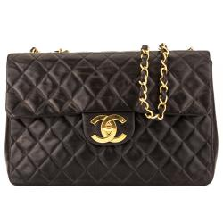 Chanel Black Quilted Lambskin Maxi Classic Flap Shoulder Bag