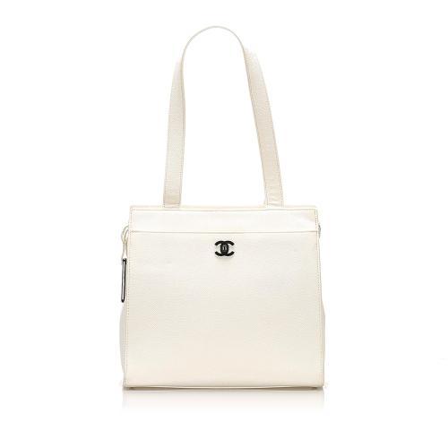 Chanel CC Caviar Leather Tote Bag