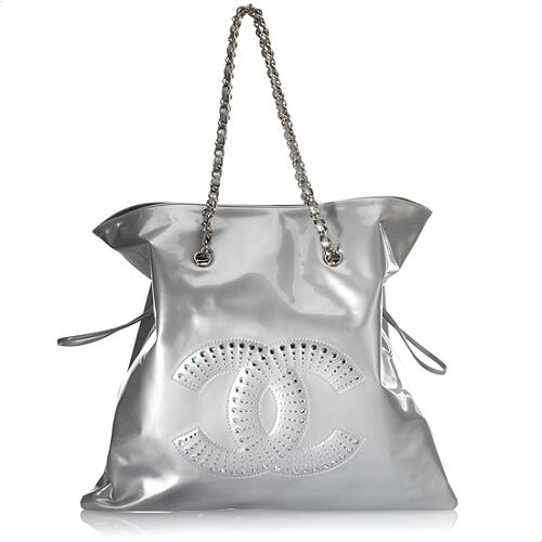 Chanel CC Crystal Strass Patent Leather Bon Bon Tote