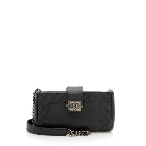 Chanel Calfskin Boy O Mini Clutch Crossbody Bag