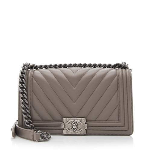 Chanel Calfskin Chevron Medium Boy Bag