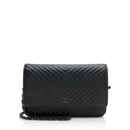 Chanel Calfskin Chevron So Black Wallet On Chain Bag