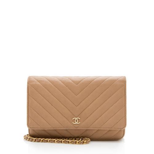 Chanel Calfskin Chevron Wallet On Chain Bag